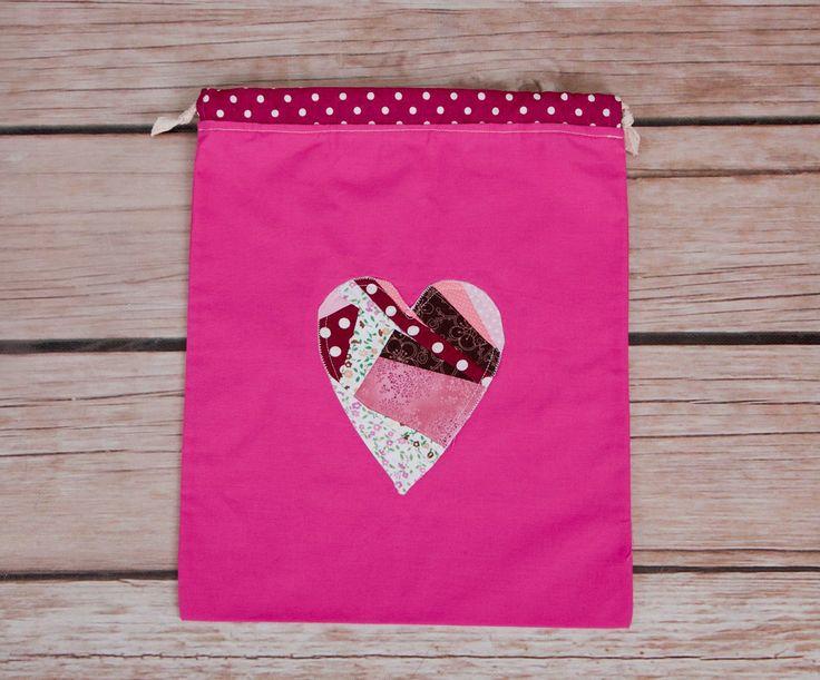 Sack. Bag For Kindergarten. Drawstring Bag. Toy Bag. Gymnastics Bag. Beach Bag. Sack with heart. Crazy patchwork heart by homemadeByBZ on Etsy