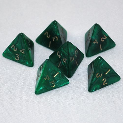 Pearlized Green and Gold 4 Sided Dice