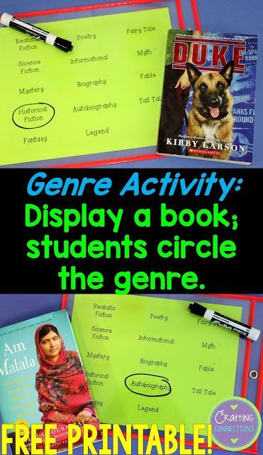 Genre Activities for the upper elementary classroom- free printables!