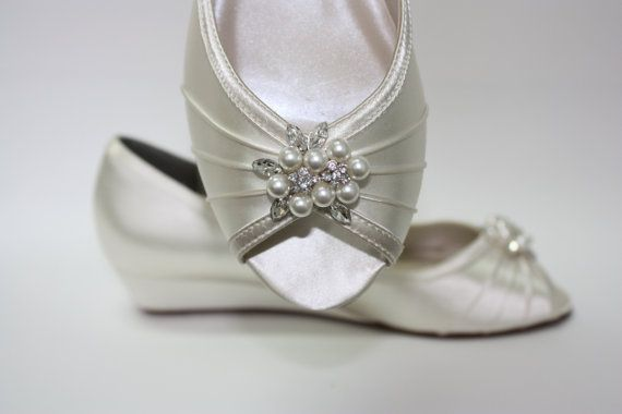 Wedge Wedding Shoes - Peep Toe Ivory Shoes - 1 Inch Wedge Heel - Choose From Over 100 Shoe Colors - Outdoor Wedding Shoe - Barn Wedding