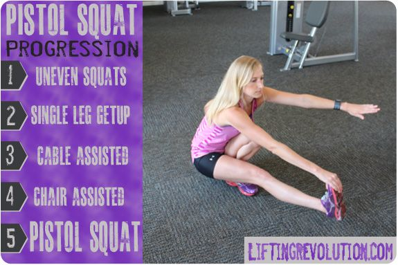 The progressive exercises to help you do a one legged pistol squat. Might seem impossible now, but you can do it! Liftingrevolution.com
