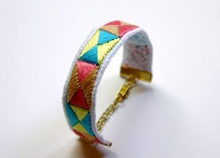 hand embroidered bracelet: Embroidered Bracelets, Pastels, Hands Embroidered, Pastel Braces, Friendship Bracelets
