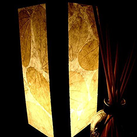 Nature Real Leaves Table Lamp Lighting Shades Floor Desk Outdoor Touch Room Bedroom Modern Vintage Handmade Asian Oriental Wood LED Bedside Gift Art Home Garden Christmas; Free Adapter; Us 2 Pin Plug #407 - - Amazon.com