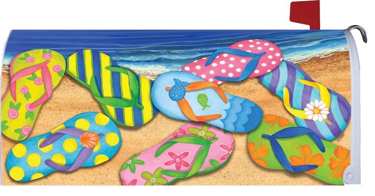 Amazon.com : Flip Flop Beach - Decorative Mailbox Makeover Cover : Magnetic Mailbox Covers Beachy : Patio, Lawn & Garden