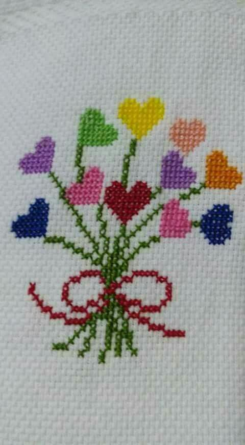 Birthday heart bouquet cross stitch.