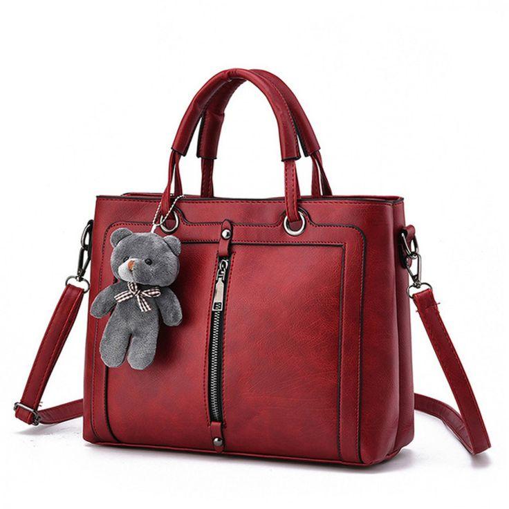 Luxury Women Leather Handbag Red Retro Vintage Bag Designer Handbags High Quality Famous Brand Tote Shoulder Ladies Hand Bag