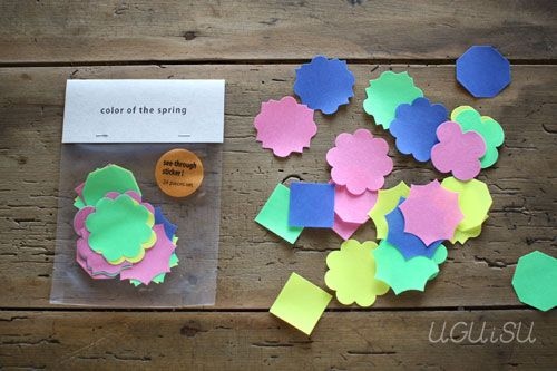 Onion Skin Paper Motif Stickers Large 24pcs {Spring Colours}