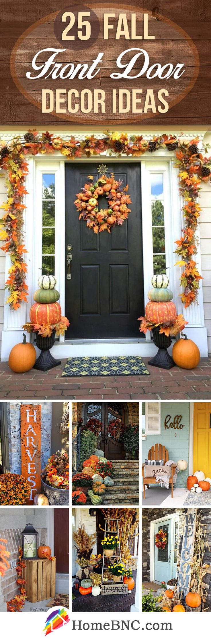 Thanksgiving front door decorations - 25 Adorable Fall Front Door Decor Ideas To Make A Fantastic First Impression