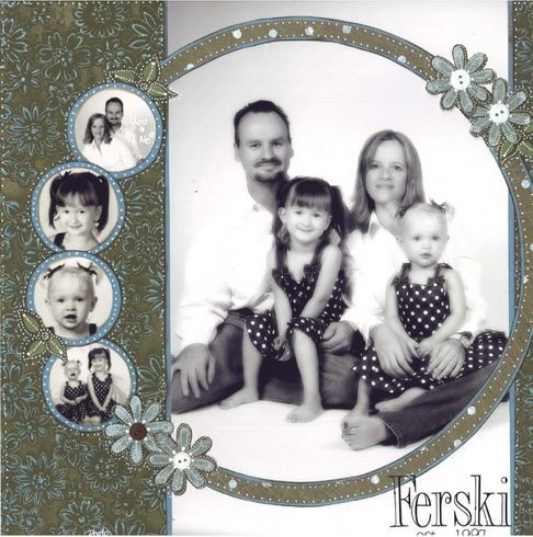 Scrapbook layout- circle around group pic and smaller bubbles of the individuals