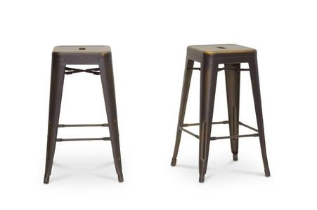 Modern Counter Stool In Antique Copper - Set of 2