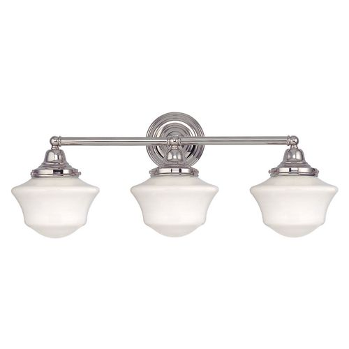 Schoolhouse Bathroom Light with Three Lights in Polished Nickel at Destination Lighting