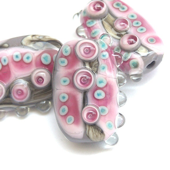 stepping stones handmade lampwork glass bead set in grey pink fuchsia and copper