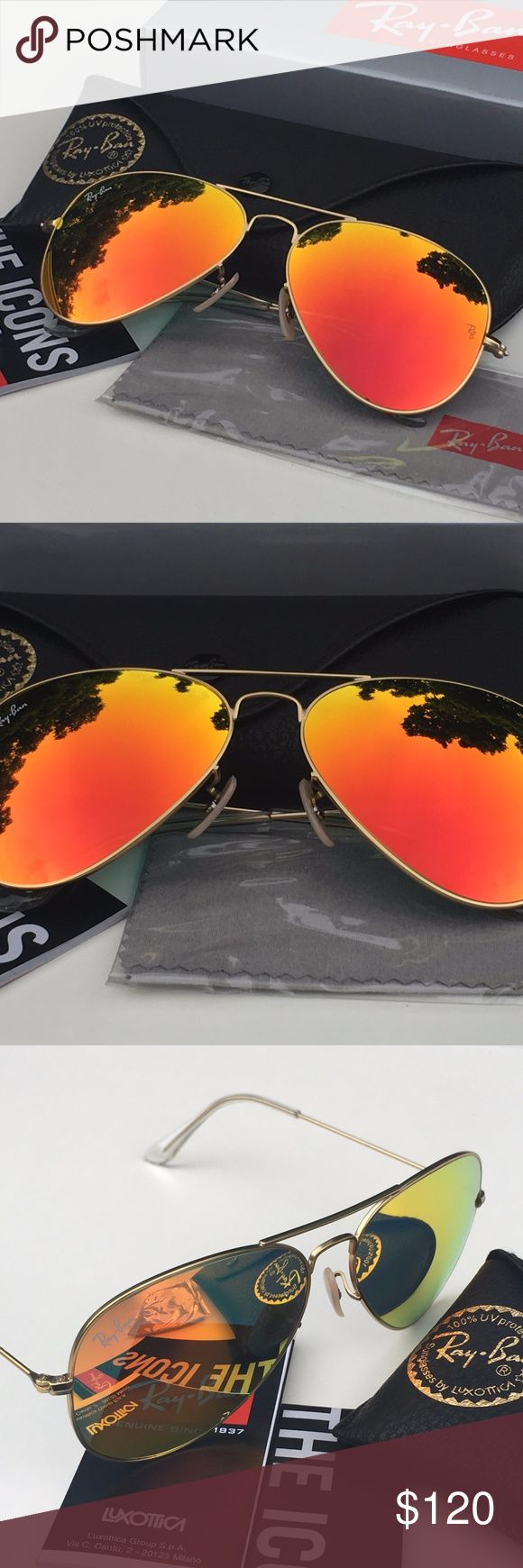 RAY-BAN AVIATOR Sunglasses - Orange Flash/Gold 100% AUTHENTIC & BRAND NEW  Original RAY-BAN AVIATOR Sunglasses Orange Flash - Gold Frame Model: RB3025 - 112/69 (58mm)   -----------------------------------------------------------------   Product Description: Brand: Ray-Ban (100% Authentic) Lens Color: Orange Flash Frame Color: Gold Model: RB3025 Color Code: 112/69 Size: 58mm/14/3N Gender: Unisex Made: Italy  Package Includes:  - Ray-Ban Outer Paper Box - Ray-Ban Carrying Case - Ray-Ban…