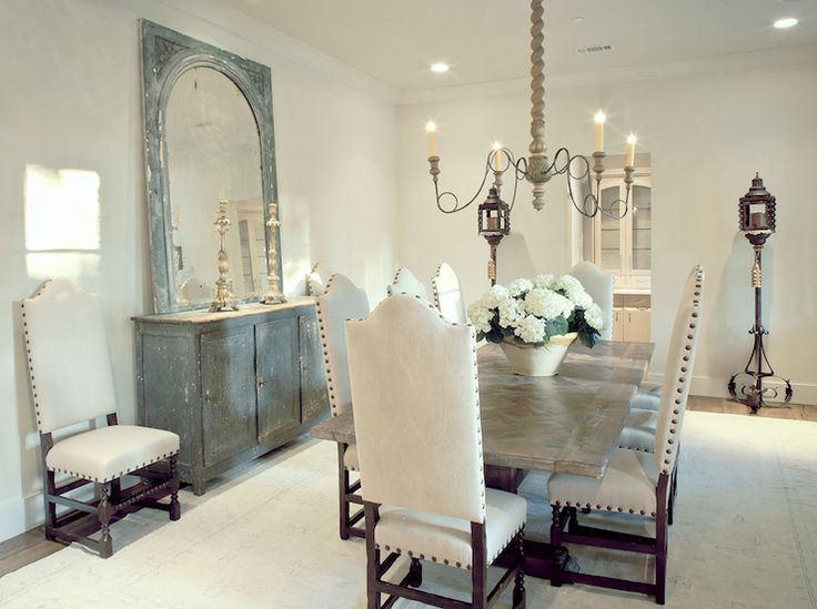 Suzie: The Owen Group - French dining room with Joyce Horn Chest & mirror, camelback nailhead ...