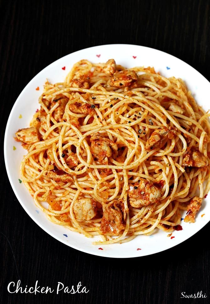 Chicken pasta recipe - A basic tomato spaghetti recipe made with chicken. Quick to make and tastes delicious. It can be served with a soup & toast