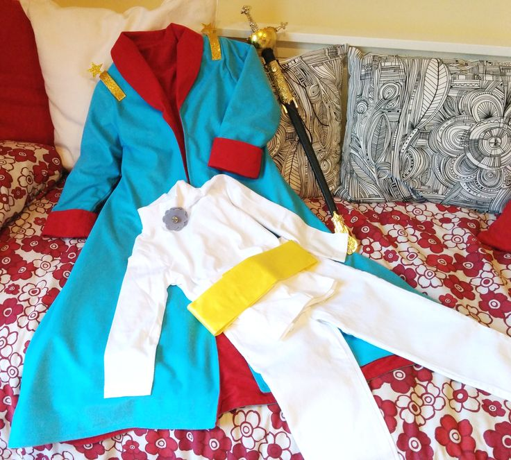 The Little Prince costume: Jacket, turtle neck t-shirt with felt rose, white jeans and satin belly band