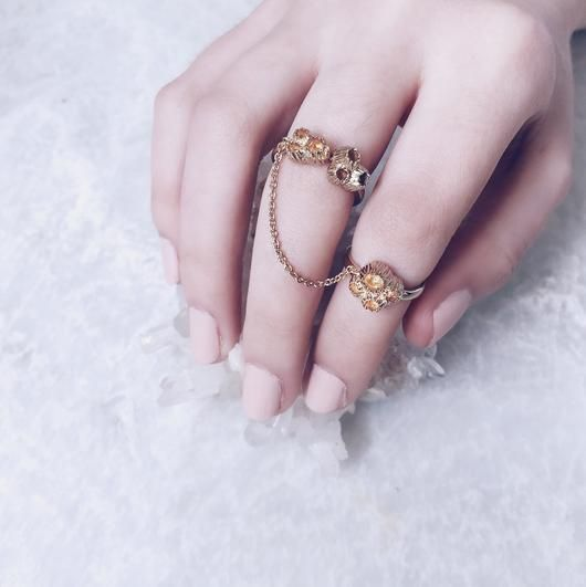Beautiful Stacking Rings | Shop Now | Fine gold stacking barnacle rings with a joint chain that drapes beautifully across the finger | Modern, effortless and beautiful | Au Revoir Les Filles | Shop this unique ring now by clicking on website link