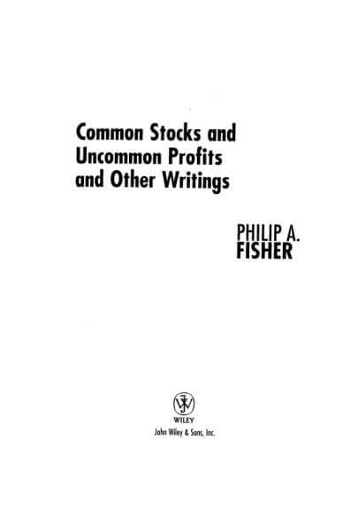 common stocks and uncommon profits by philip fisher book pdf download