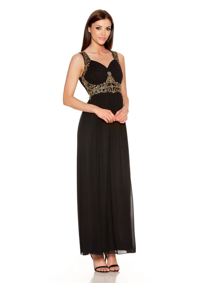 Black And Gold V Neck Embellished Maxi Dress