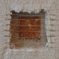 Passages: Window 1 Handmade paper of Belgian flax, hand-spun sisal window by Claudia Lee