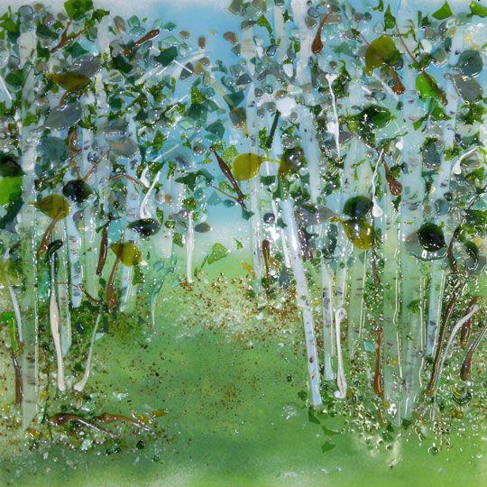 Image Detail For Birch Tree In Spring Glass Kitchen Backsplash Grove Of