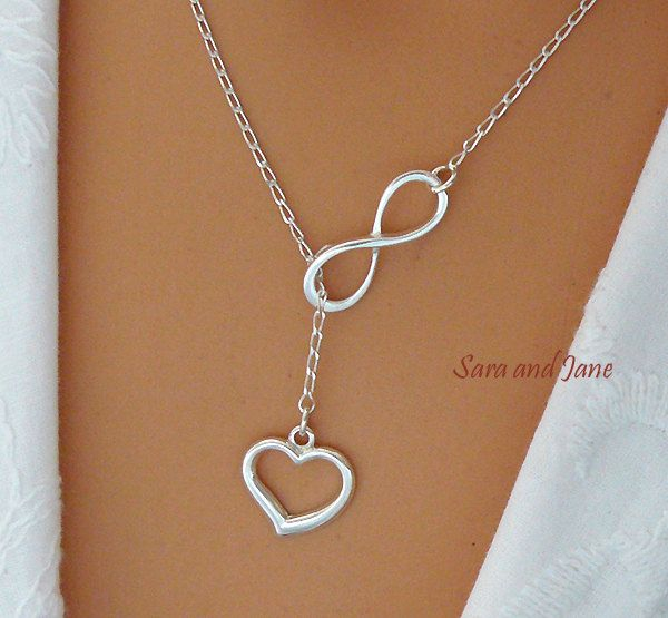 Heart and Infinity Necklace - Sterling Silver Infinity Heart Lariat - Love Forever - Infinity and Love Necklace by SaraAndJane on Etsy https://www.etsy.com/listing/190894372/heart-and-infinity-necklace-sterling