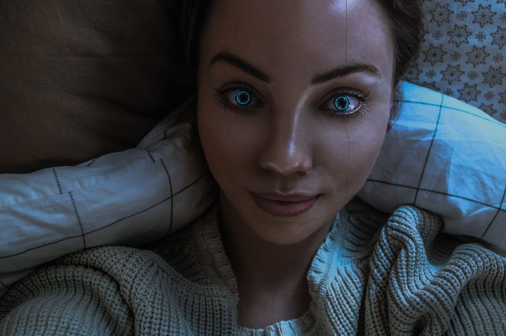 [Astrid the Astroid] Selfie   #robot #girl #Android #Swedish #Beautiful #selfie #bed #cosy