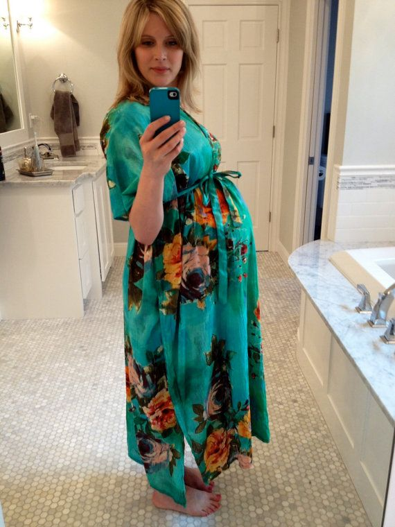 Hospital Gown Delivery Kaftan  Aqua  Perfect as by silkandmore, $34.00