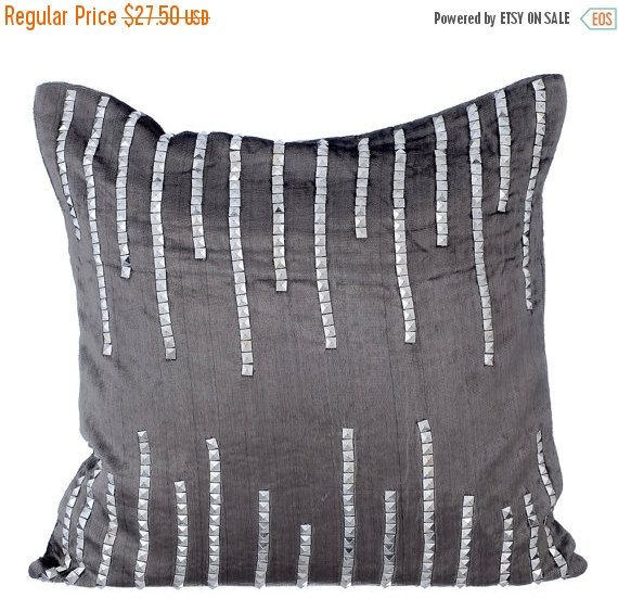 15% YEAR END SALE Silver Jeweled Strings-Sequins Embroidered Charcoal Grey Velvet Throw Pillow Cover. Shop Now!