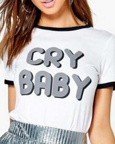 Letter cry baby t shirt color block hem for women