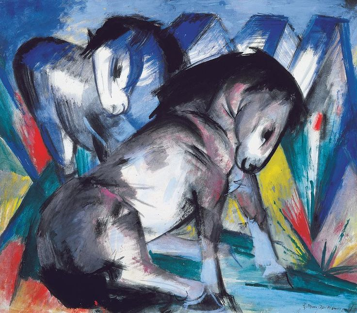Title  Two Horses  Artist  Franz Marc  Medium  Painting - Tempera & Gouache On Paper
