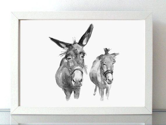 Twee Ezels schilderij  print  Ezel kunst  Dier van ZenInks op Etsy