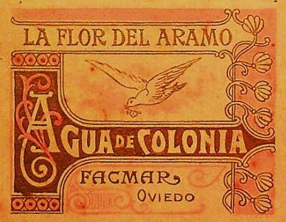 Anuncio de agua de colonia de la antigua fábrica de cosmética LA FLOR DEL ARAMO, de Oviedo