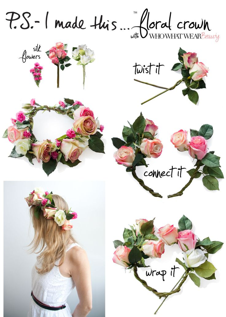 P.S.- I made this... Floral Crown  #DIY  #PSIMADETHIS  #FLORALCROWN  #WHOWHATWEARBEAUTYIdeas, Make Flower, Diy Flower Crowns, Silk Flower, Hair, Flower Girls, Diy Floral, Floral Crowns, Crafts