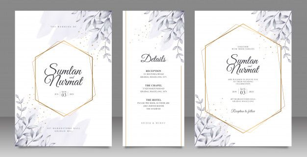 Golden Geometric Frame Wedding Card Set Template With Leaves