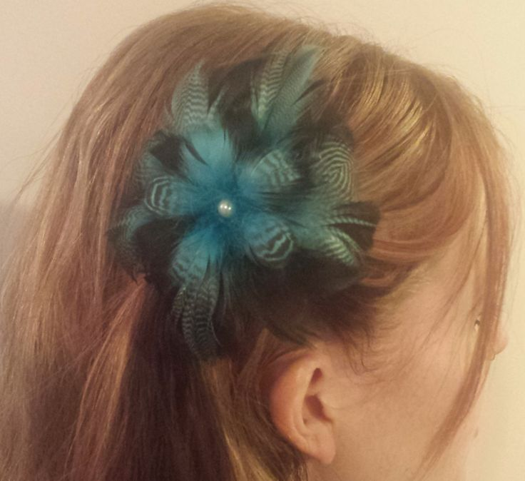Bright Blue And Black Feather Flower Fascinator by PeachesPlumageWorks on Etsy