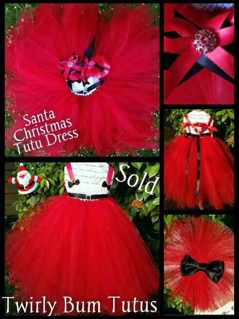 Custom Santa Tutu dress and clip ...sold