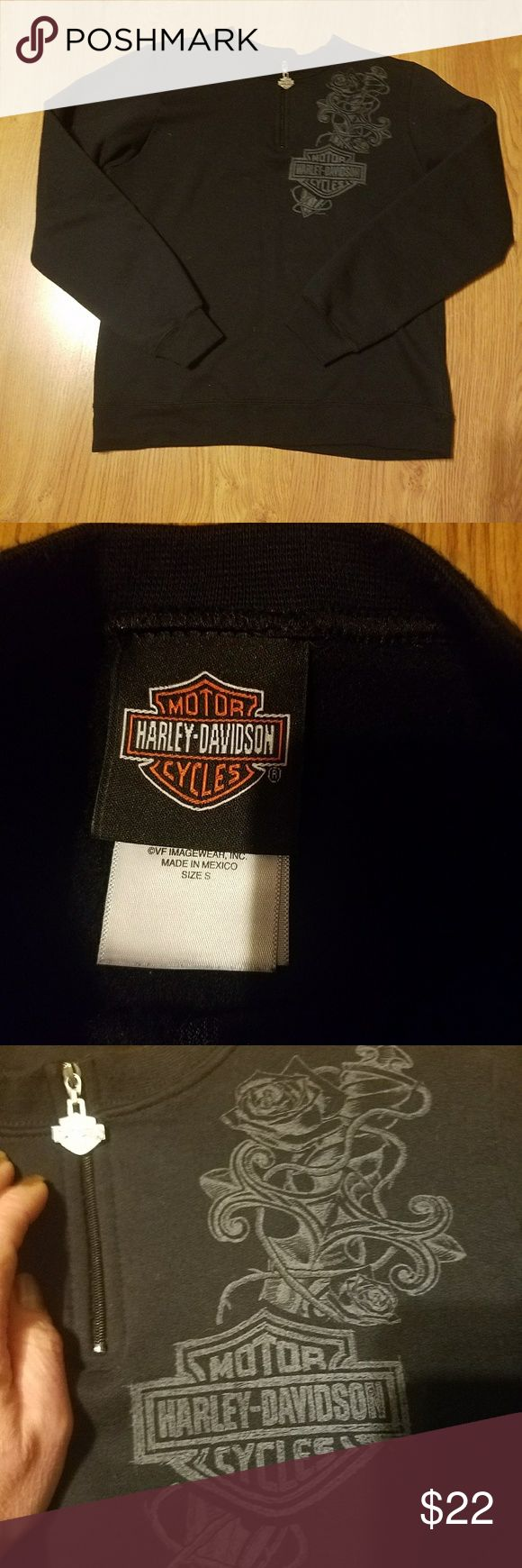 Harley-Davidson Sweatshirt Size Small EUC This is a Harley-Davidson Sweatshirt size small, in EUC. Black half zip with gray design on front chest and back. Very warm. Worn a few times. Always hung to dry. No TRADES. THANKS FOR LOOKING. Harley-Davidson Tops Sweatshirts & Hoodies