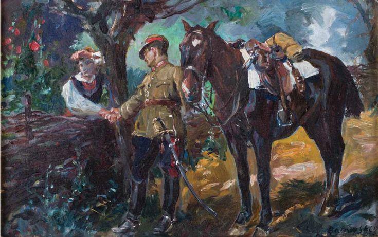 STANISŁAW KACZOR-BATOWSKI (1866 - 1946)  UŁAN PRZY PŁOCIE, 1923   olej, tektura / 24 x 36,5 cm  sygn. i dat. p.d.: S. Batowski 1923
