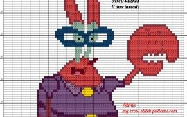 Mamá Krabs Bob Esponja patrón punto de cruz
