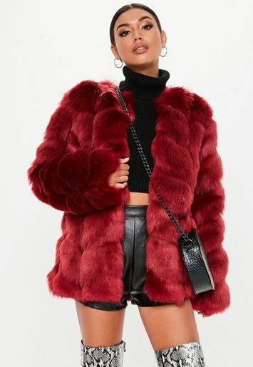 d851e6df4 Missguided - Red Faux Fur Bubble Coat in 2019   clσthѕ   Red faux ...