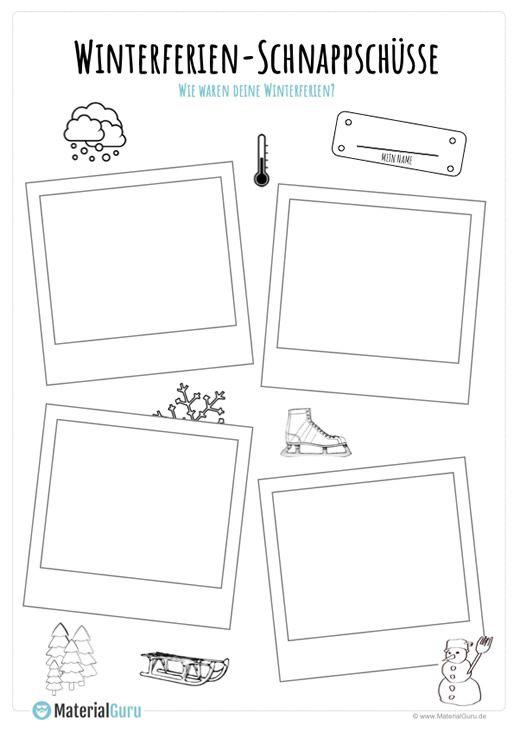 ein kostenloses arbeitsblatt zu den winterferien auf dem die sch ler bilder aus ihren. Black Bedroom Furniture Sets. Home Design Ideas