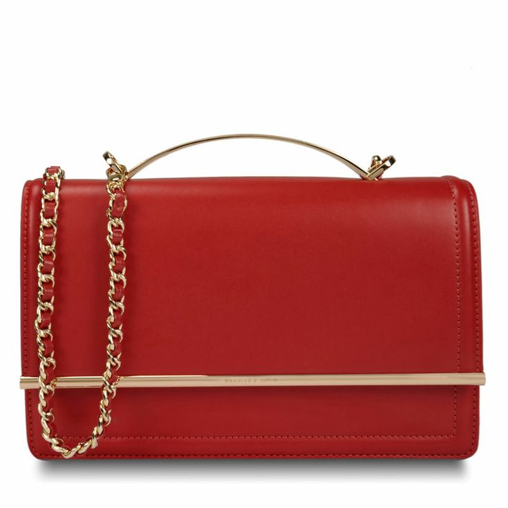 Duo Tone Clutch - Red - Clutch - Bags | CHARLES & KEITH