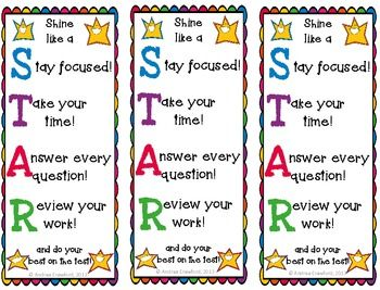 Star Testing Motivation Bookmarks and Testing Sign