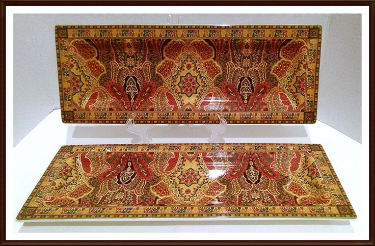 Canape Appetizer Serving Trays By Neiman Marcus in Victorian Paisley Set of 2