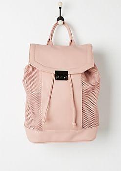 Pink Mesh Paneled Backpack   rue21