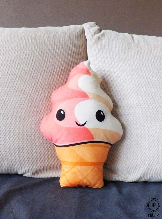 Ice cream pillow kawaii ice cream plush ice cream by NiviaWorkshop