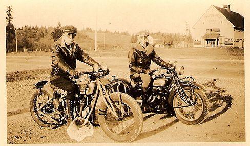 vintage men motorcycles