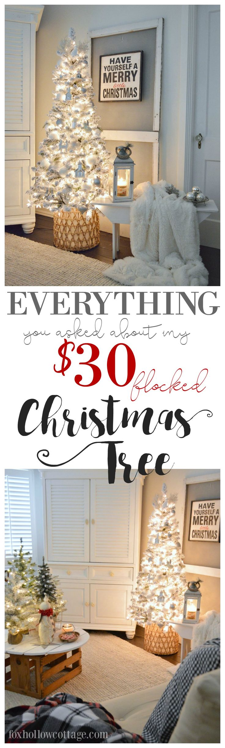 My $30 flocked Christmas tree - Where I got it, the lights I used, my basket size ( I got it at @Homegoods ), tips and everything you've all been asking about - answered. Because holidays decorating can be affordable and still be pretty! For more everyday & seasonal decorating ideas that won't leave you broke, visit foxhollowcottage.com sponsored pin