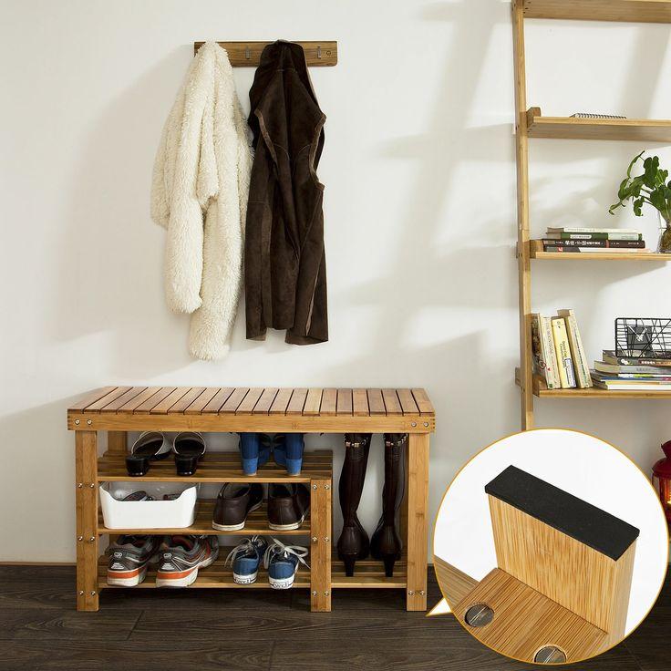SoBuy Scarpiera di bambù, scaffale da bagno, scarpiera per stivali, FSR15-L-N,IT